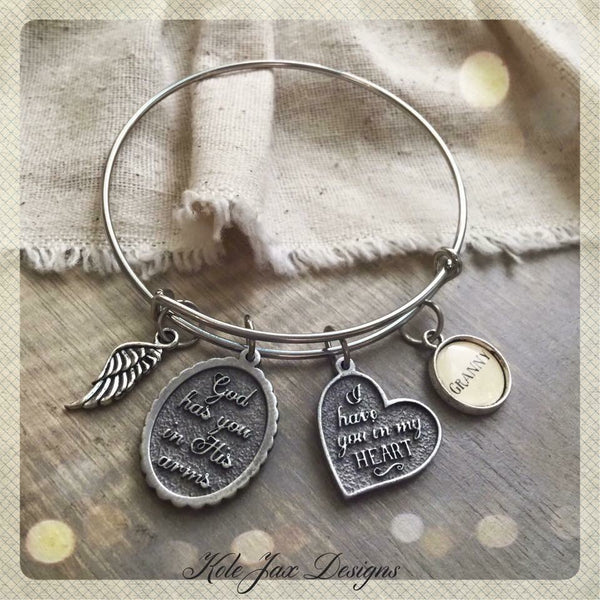 God has you in His arms, I have you in my heart bangle bracelet with optional personalized name charms