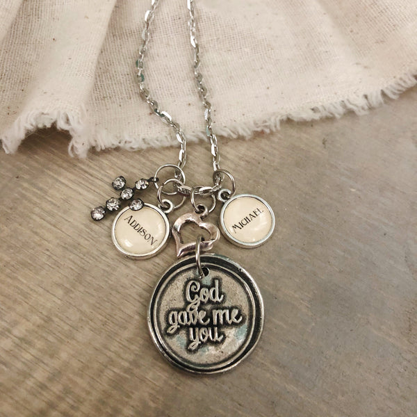 God gave me you necklace with optional personalized name charms