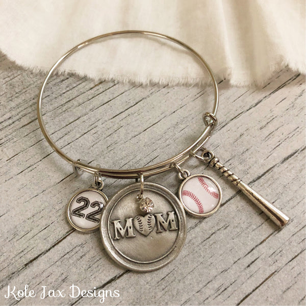Baseball Mom bangle bracelet with optional number or name charms