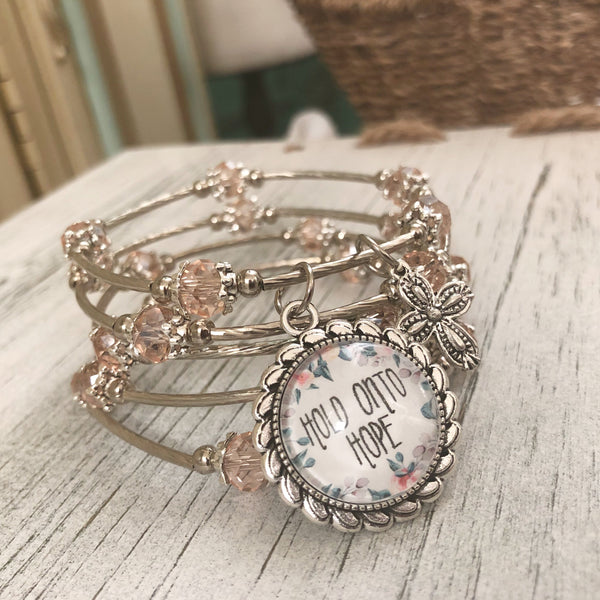 Hold onto Hope beaded wrap bracelet