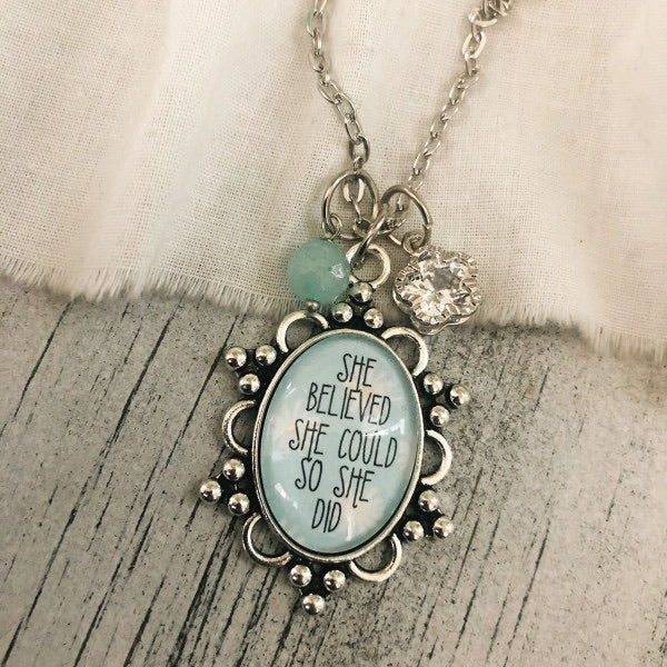 She believed she could so she did glass pendant necklace