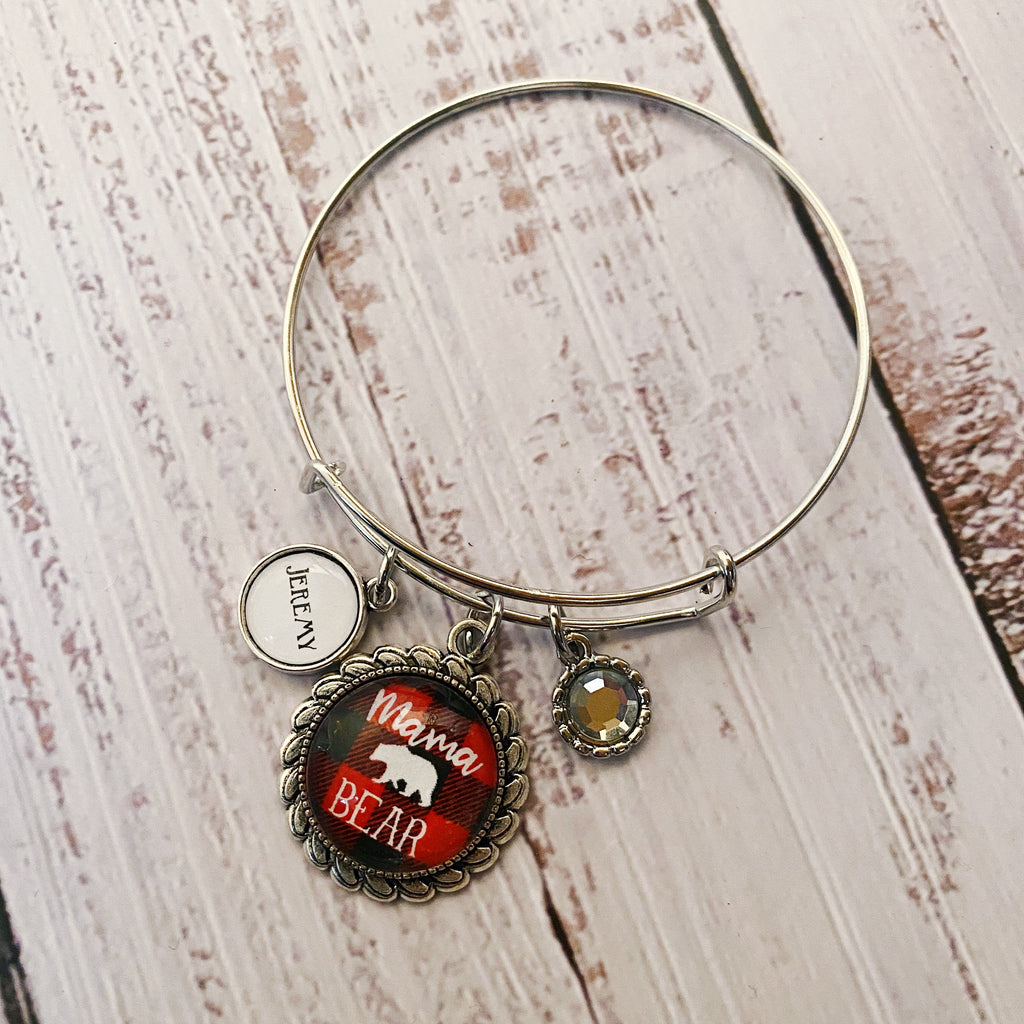 Round Mama bear bangle bracelet with optional personalized name charms