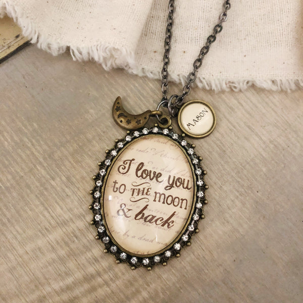 I love you to the moon and back glass pendant necklace with optional name charms