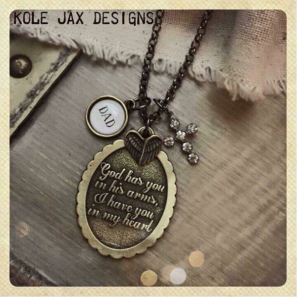 God has you in His arms, I have you in my heart necklace with optional personalized charms