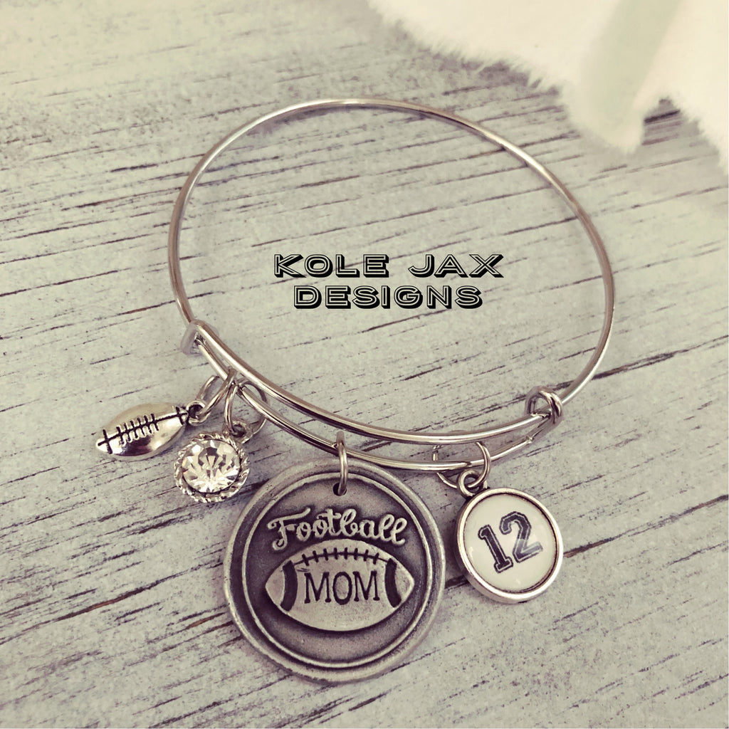 Football mom bangle bracelet with optional personalized charms