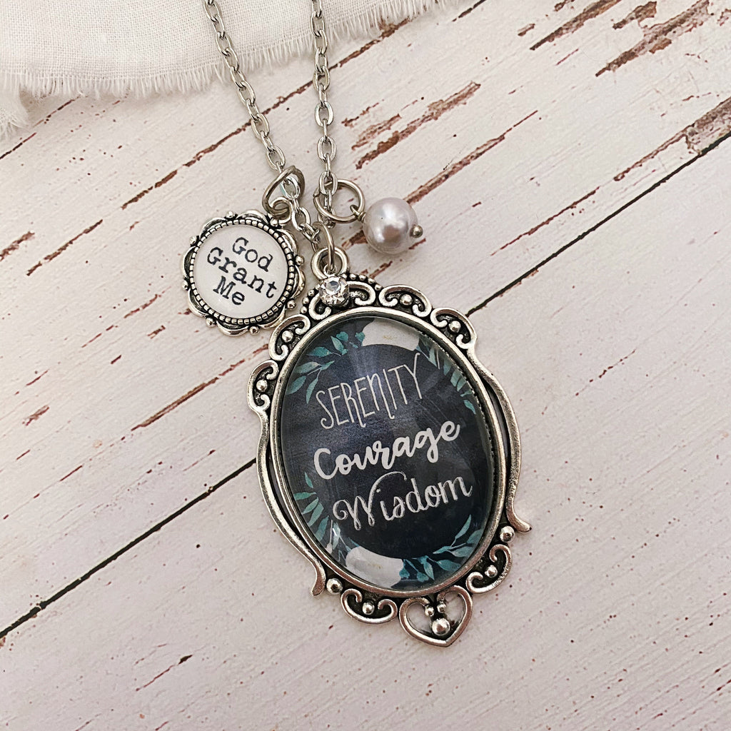 Serenity Prayer Necklace - God grant me serenity courage wisdom