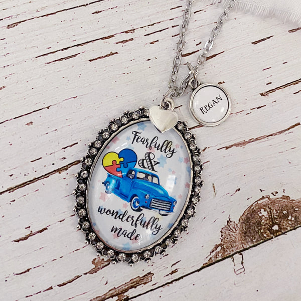 Fearfully and Wonderfully Made vintage truck glass oval autism awareness necklace