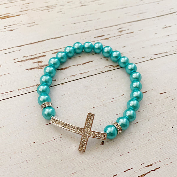 Rhinestone cross stretch bracelet