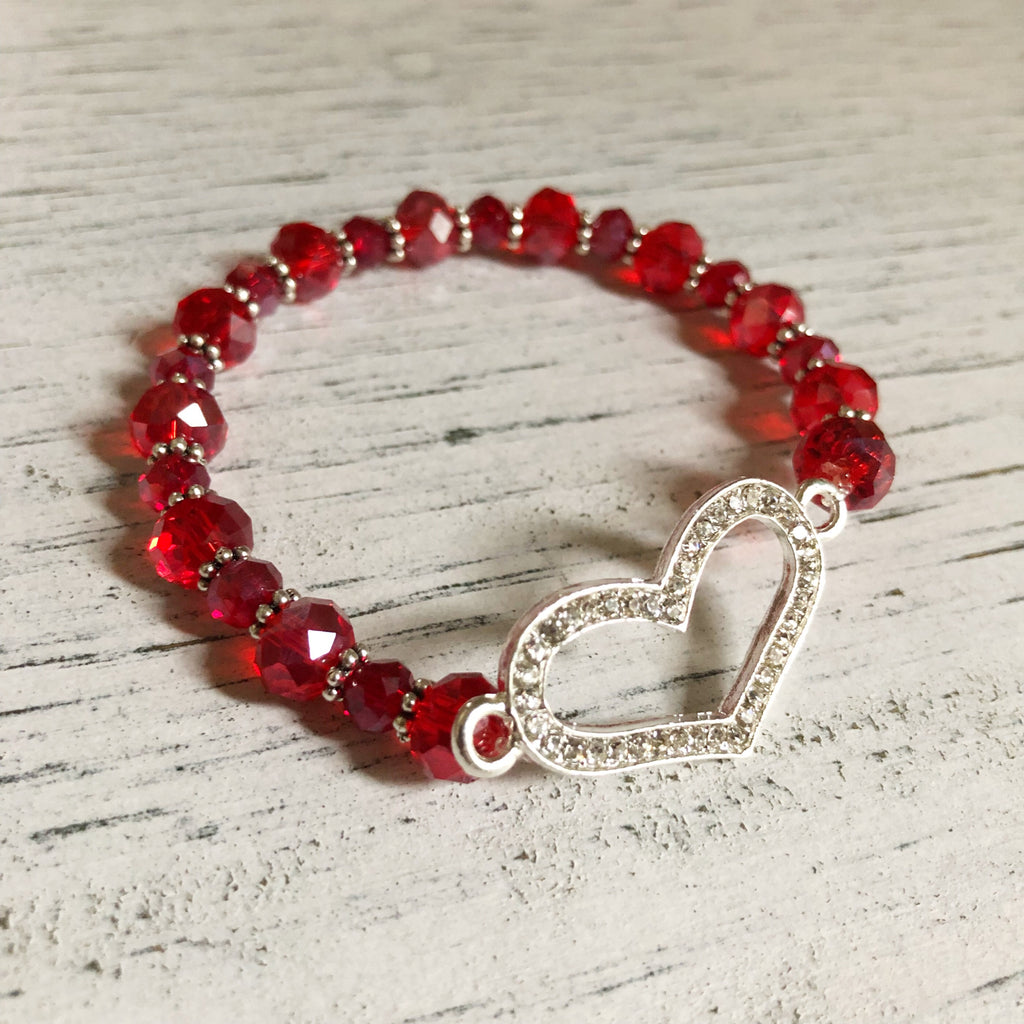 Rhinestone heart beaded stretch bracelet