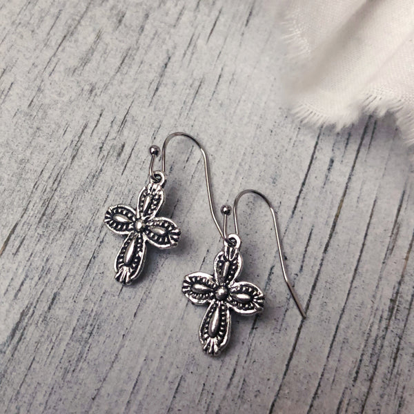 Cross earrings silver tone