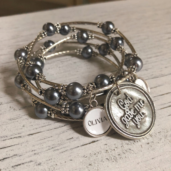 Gray God gave me you beaded wrap bracelet with personalized name charm options