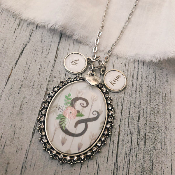 Floral ampersand necklace with optional name charms