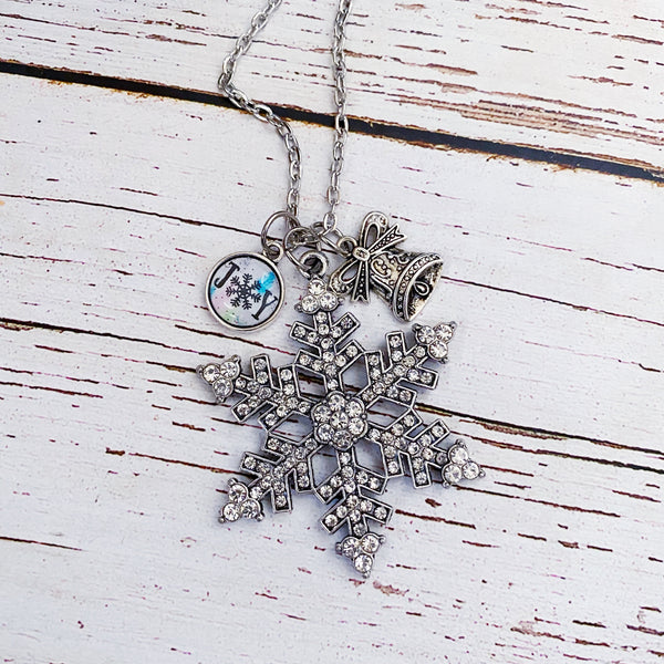 Silverbells Rhinestone Snowflake Necklace with Joy Bauble