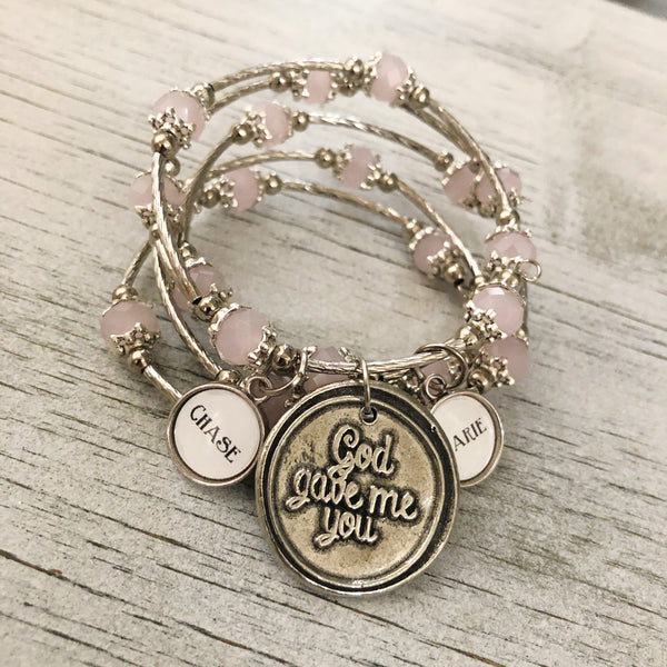 Copy of God gave me you beaded wrap bracelet with personalized name charm options pink