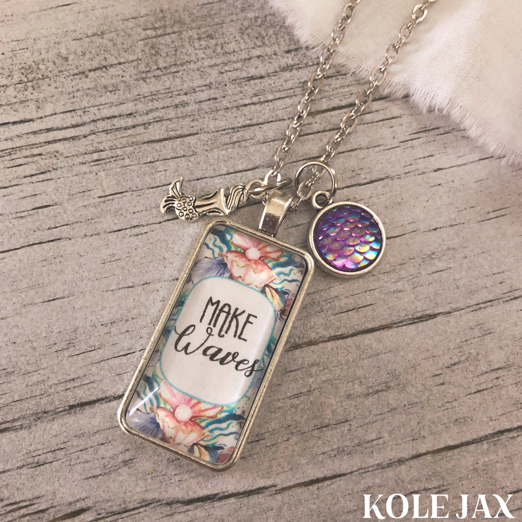 Make waves mermaid charm necklace