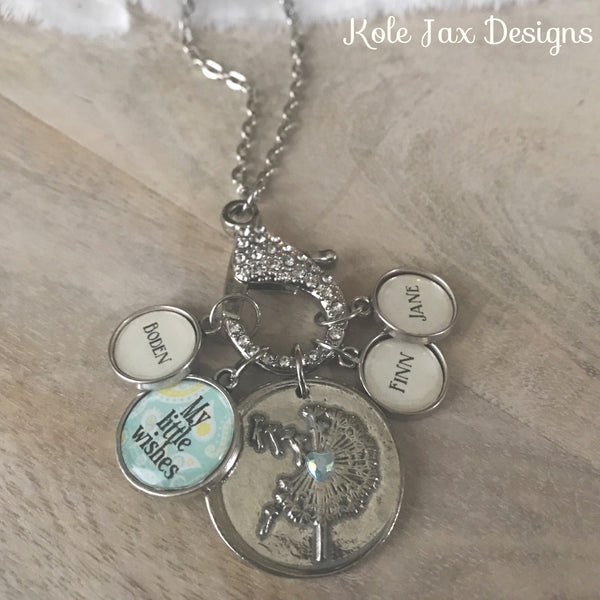 My little wishes dandelion charm necklace