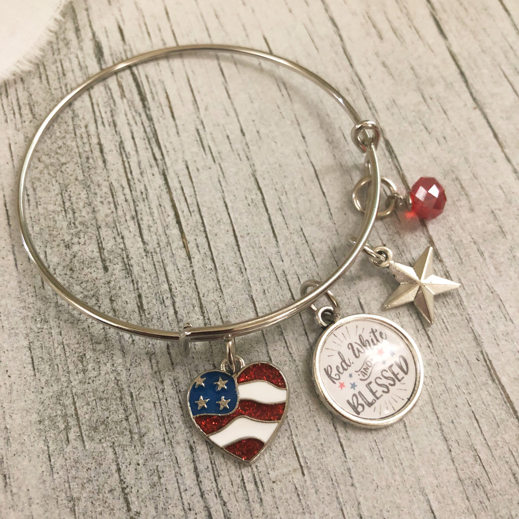 Patriotic American flag bangle bracelet red white and blessed and made in the USA