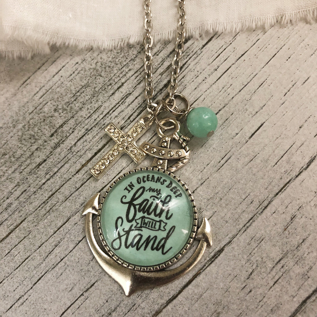 In oceans deep my faith will stand anchor pendant necklace