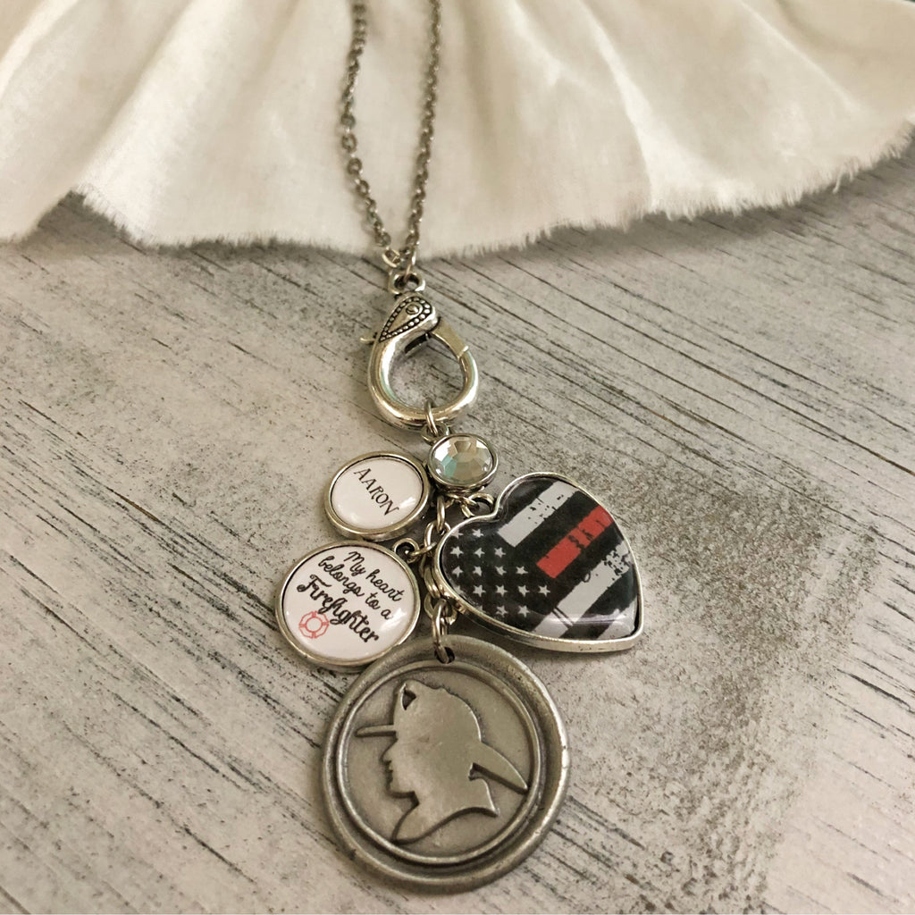 My heart belongs to a Firefighter necklace with personalized charm