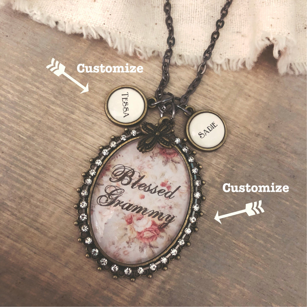 Custom Glass Oval Pendant necklace can say ANY name on oval with optional name charms