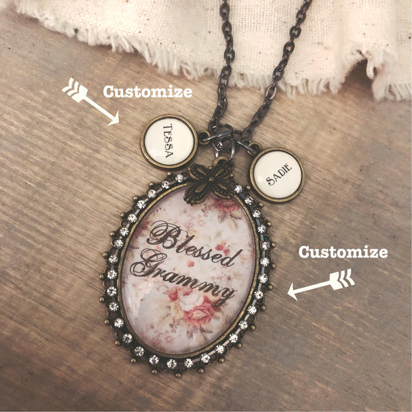 Custom Glass Oval Pendant necklace can say ANY name on oval with optional name charms vintage floral