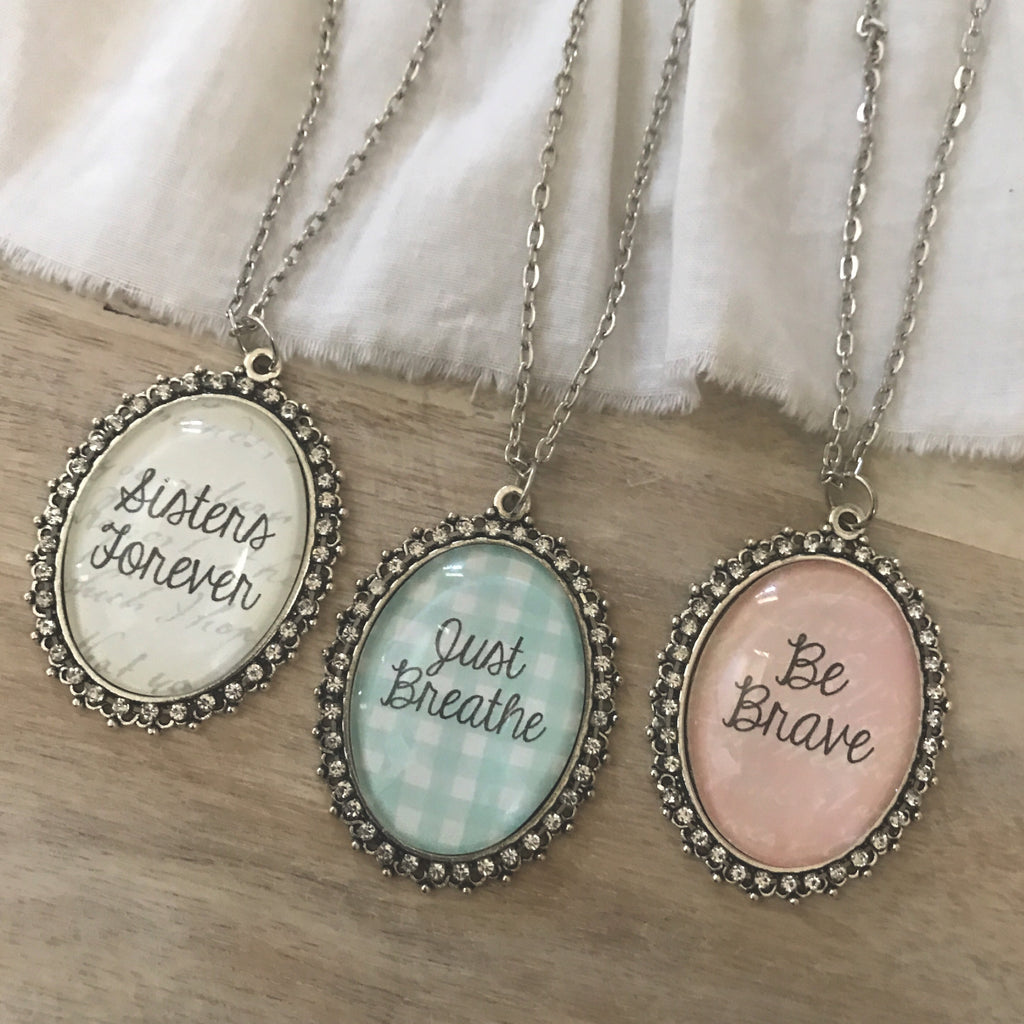 Custom Glass Oval Pendant necklace can say almost ANYTHING!
