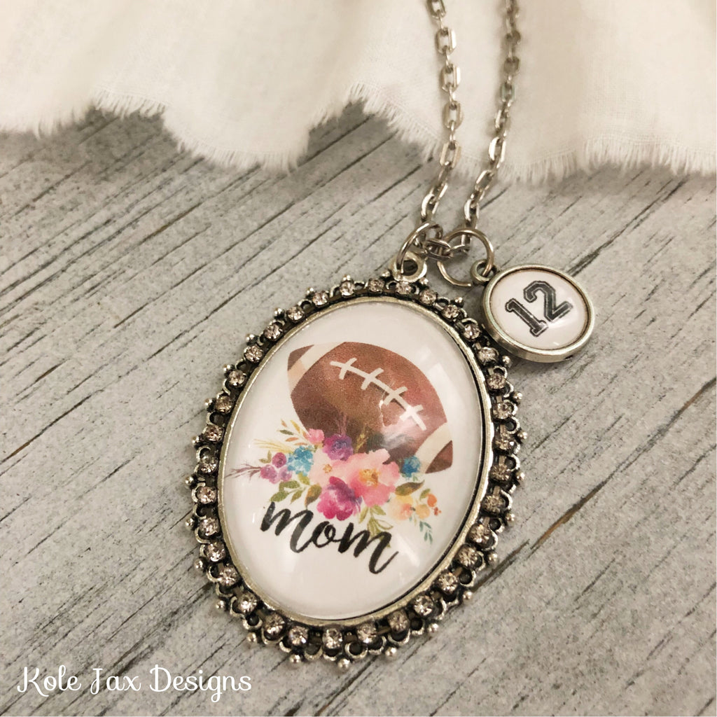 Football Mom with optional number name charms