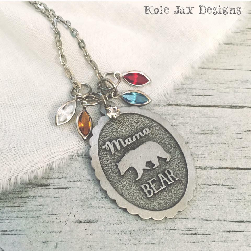 mama bear necklace with optional birthstone and name charms