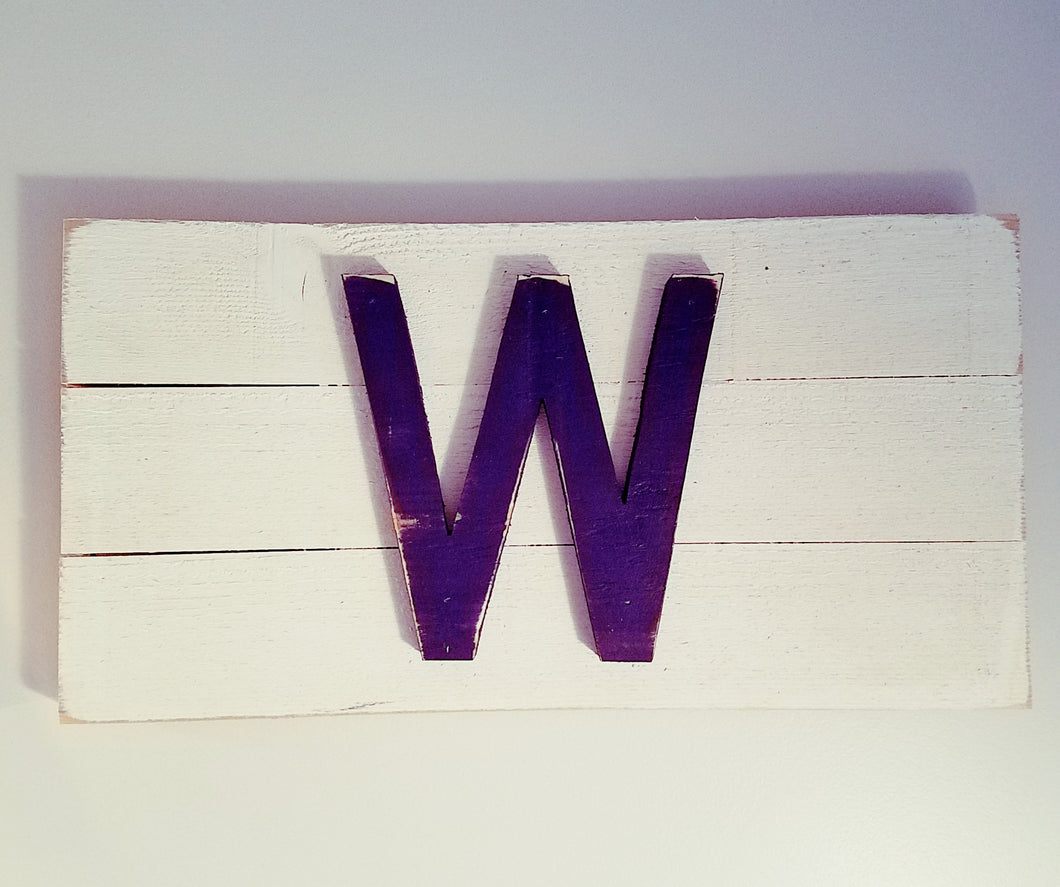 Reclaimed Wood Chicago Cubs #FlyTheW Flag