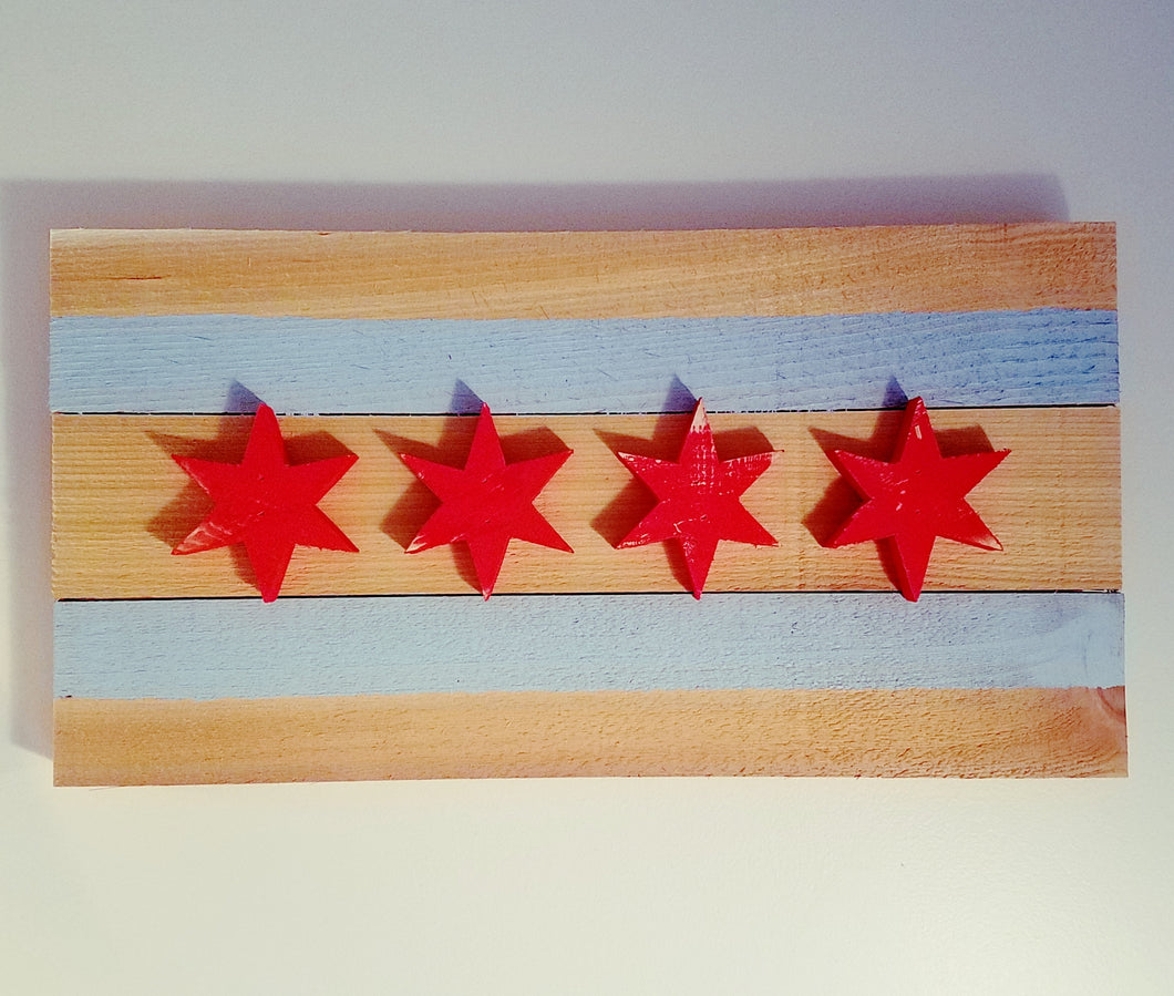 Reclaimed Wood City of Chicago Flag
