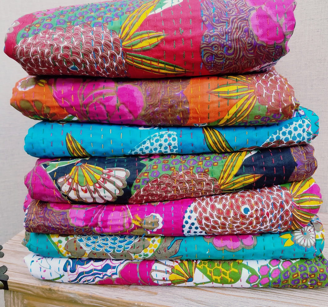 Floral Kantha Quilts - 90