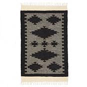 Black Stepped Diamond Rug