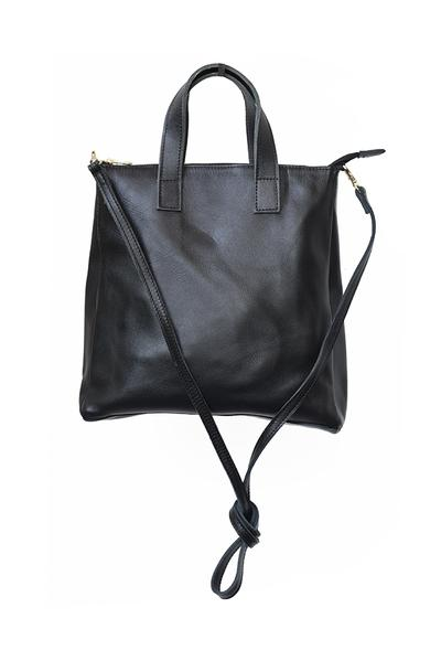Crossbody Handbag - Black Leather