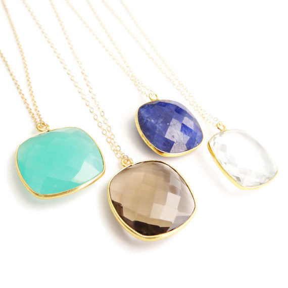 Square Gemstone Necklace