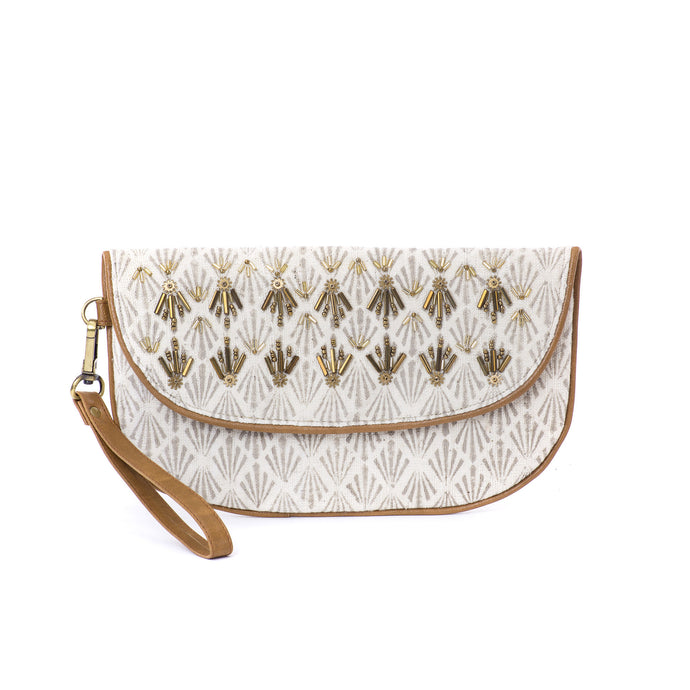 Beaded Pipe Clutch - Khaki Fern