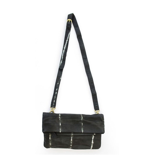 Black + White Shibori Crossbody Clutch