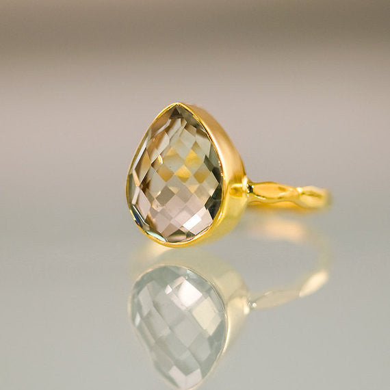 Green Amethyst Pear Cut Ring
