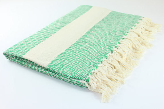 Oversized Turkish Blanket - Green Diamond