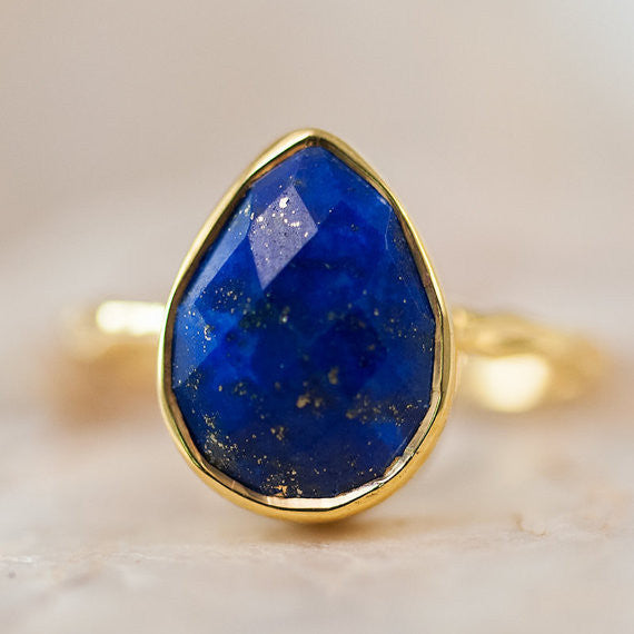 Lapis Pear Cut Ring