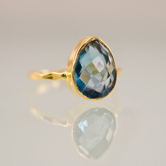 London Blue Topaz Pear Cut Ring