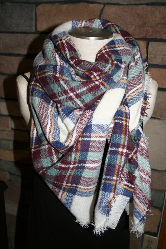 Maroon + Blue Plaid Blanket Scarf