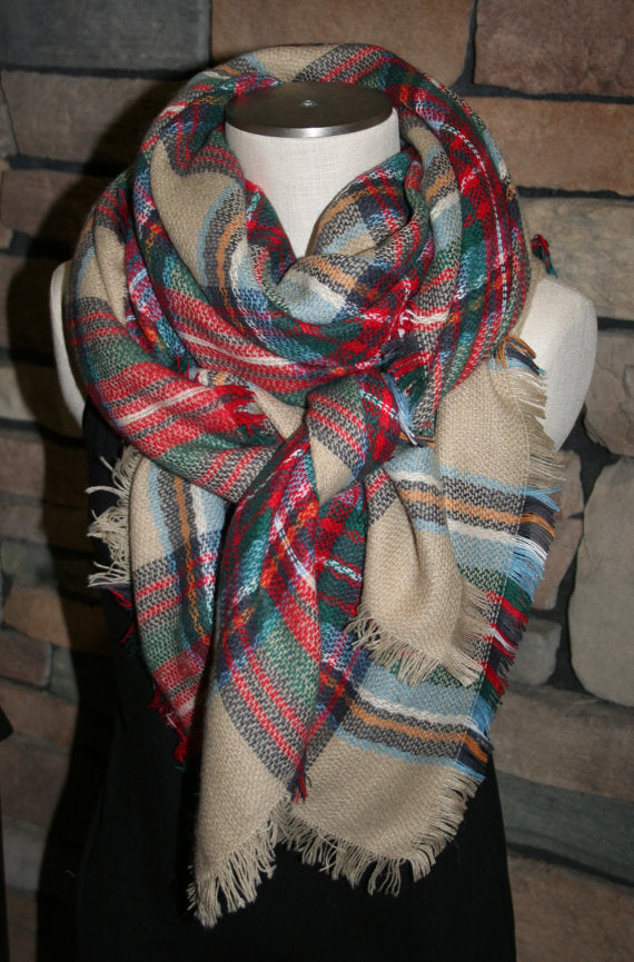 Multicolor Plaid Blanket Scarf