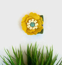 Mustard and Turquoise Flower Clip