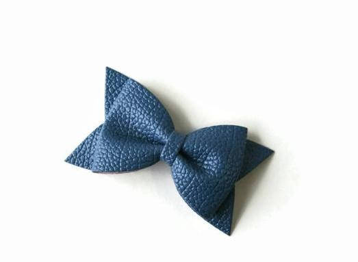 Navy Faux Leather Bow Clip