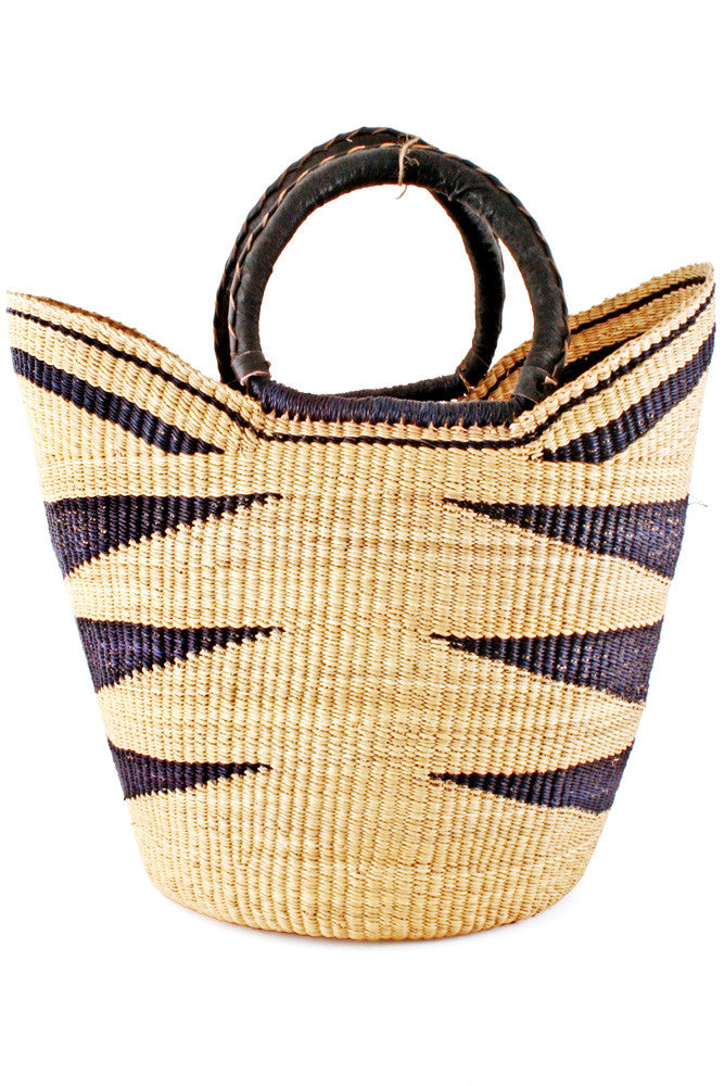 Black Ghanaian Market Basket with Leather Handles