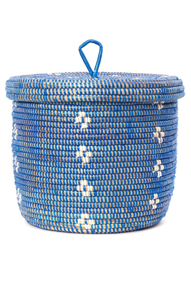 Blue And White Blossom Lidded Storage Basket