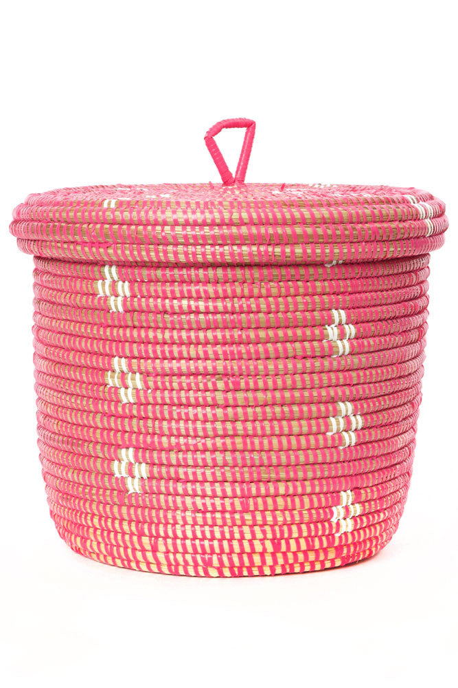 Pink & White Blossom Lidded Storage Basket