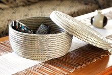 Silver Lidded Storage Basket