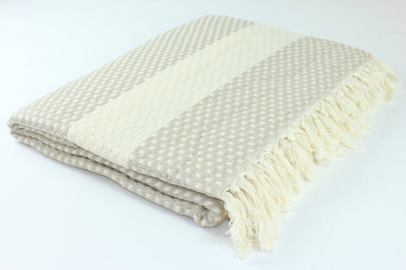 Oversized Turkish Blanket - Sand Checkerboard