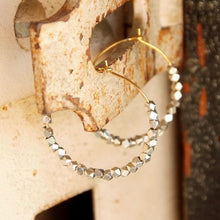 Anjou Beaded Metal Hoop Earrings
